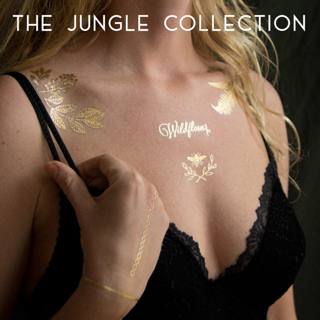 Temporary golden tattoos. Body art by Sprout Sproutanica. The Jungle Collection