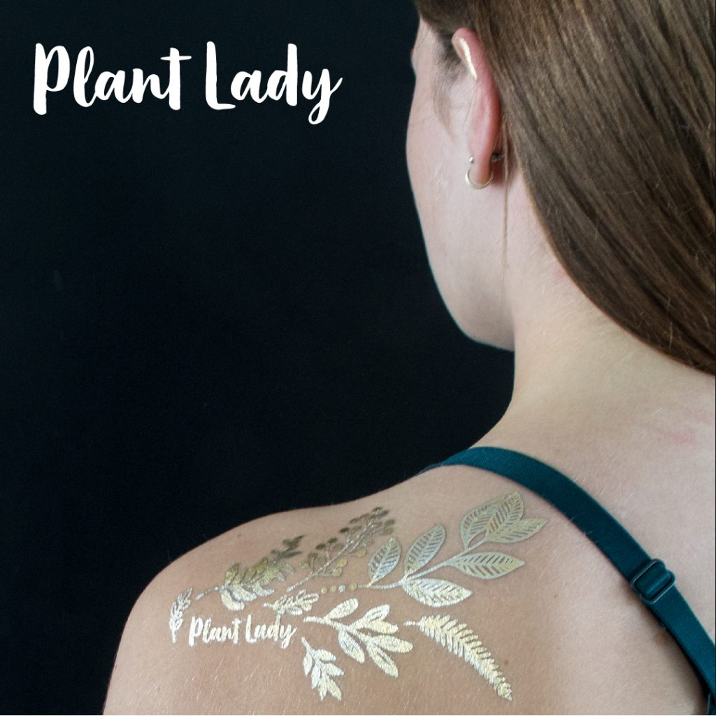 Temporary golden tattoos. Body art by Sprout Sproutanica. Plant Lady