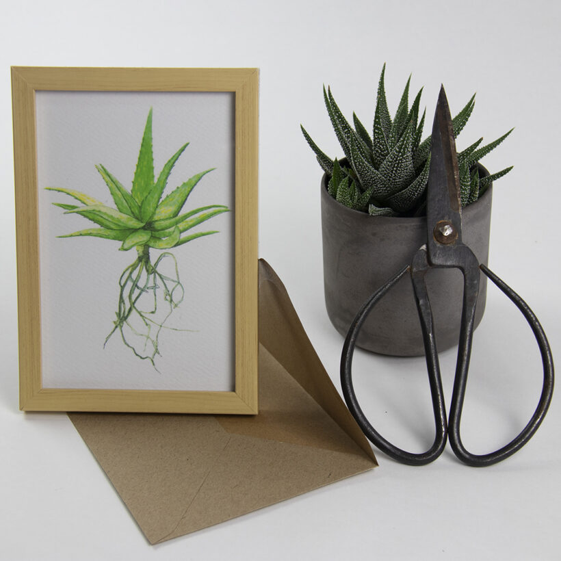 WATERCOLOR GREETING CARD Plant Lover Succulent Plant One on Me